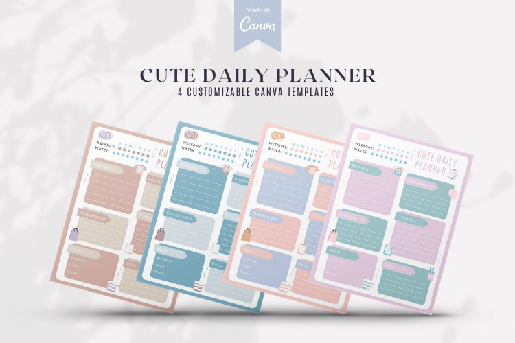 4 Cute Daily Planner Canva Templates example