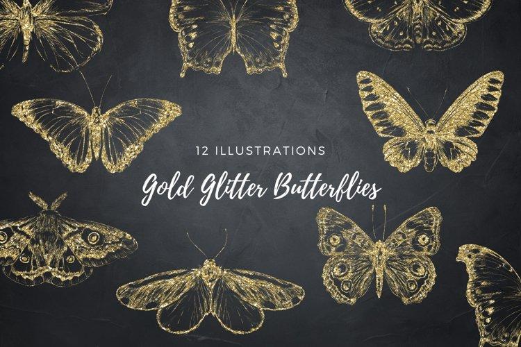 Gold Butterflies Collection, Gold Glitter Butterfly