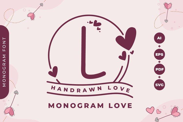 Monogram Handrawn Love example image 1