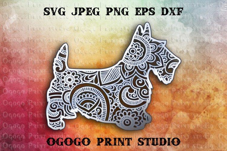 3D Layered Scottish Terrier Mandala Svg, Zentangle Svg