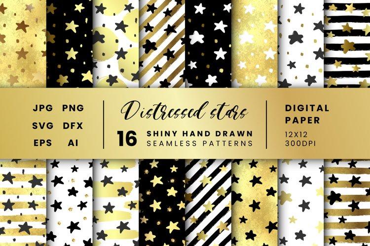 16 Distresed Star patterns, Gold Hand Drawn Digital Paper