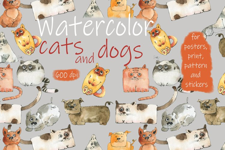 Cats and dogs. Watercolor.