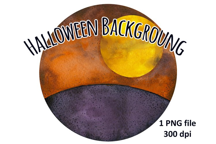 Happy Halloween Round Backgroung, Watercolor Fall Circle