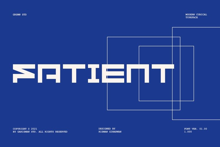 GR Fatient - Modern Cubical Typeface example image 1