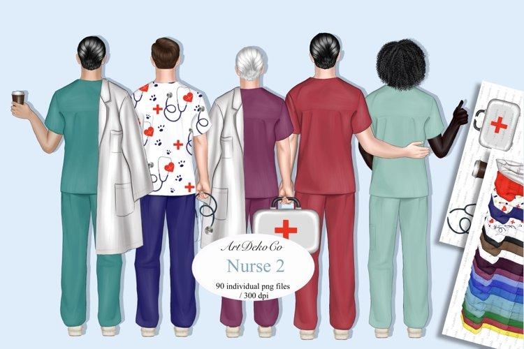 Custom Male Nurse Portrait, Male Nurses Clip Art