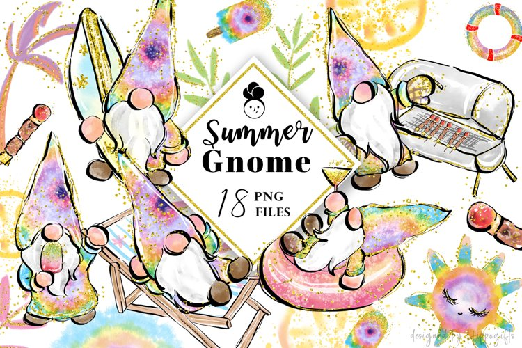 Summer tie dye gnome PNG sublimation