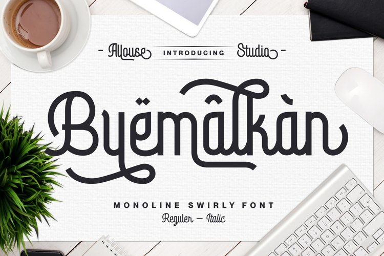 Byemalkan - Monoline Swirly Font - Two Styles example image 1