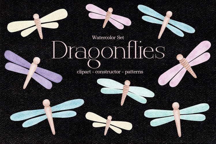 """Watercolor ClipArt """"Dragonflies"""" example image 1"""