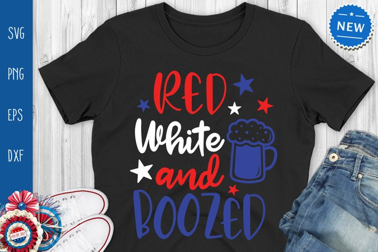 Red White And Boozed Svg, Funny 4th July Quote Svg