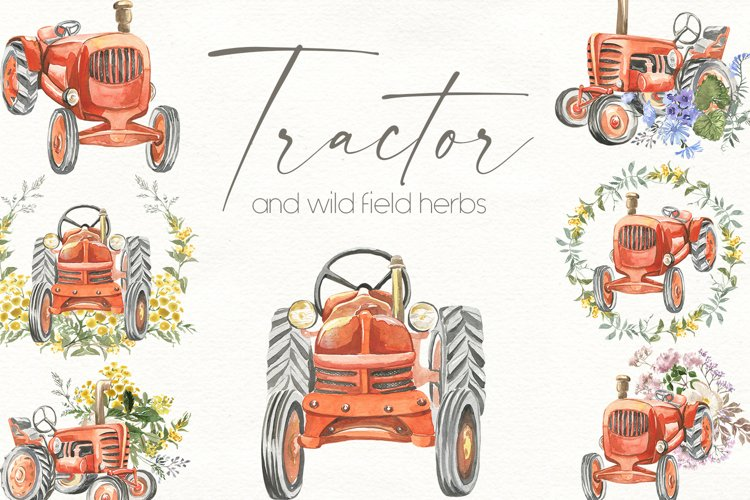 Tractor and wild herbs