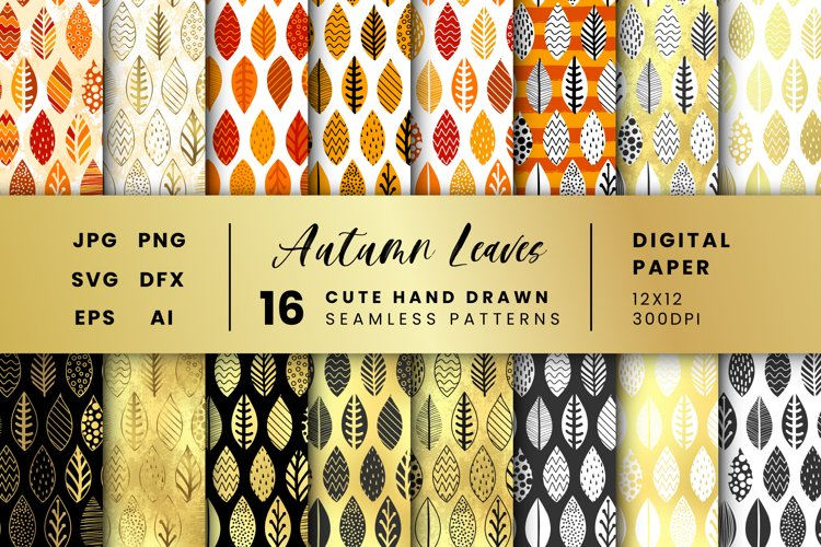 Vector seamless leaves patterns, 16 hand drawn digital paper