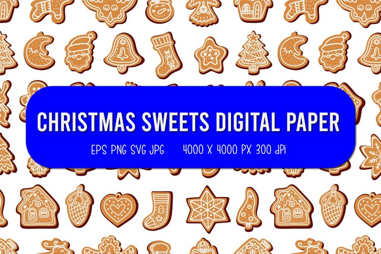 Christmas sweets Digital Paper   Christmas seamless pattern example image 1