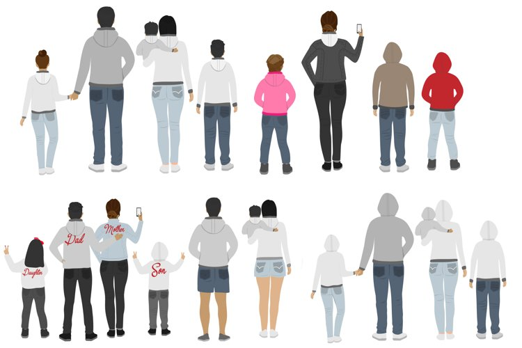 Mother father and children Family clipart. Teenagers