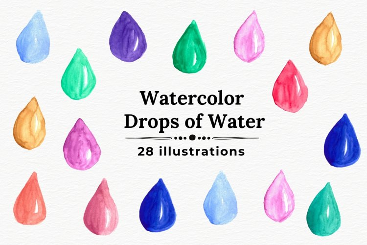 Watercolor water drops, Handpainted drops of water example image 1