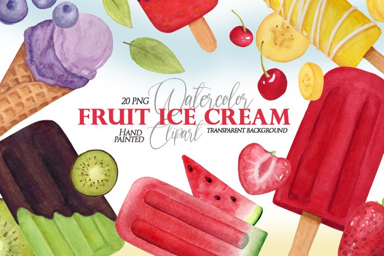 Watercolor Fruit Ice cream clipart in PNG format