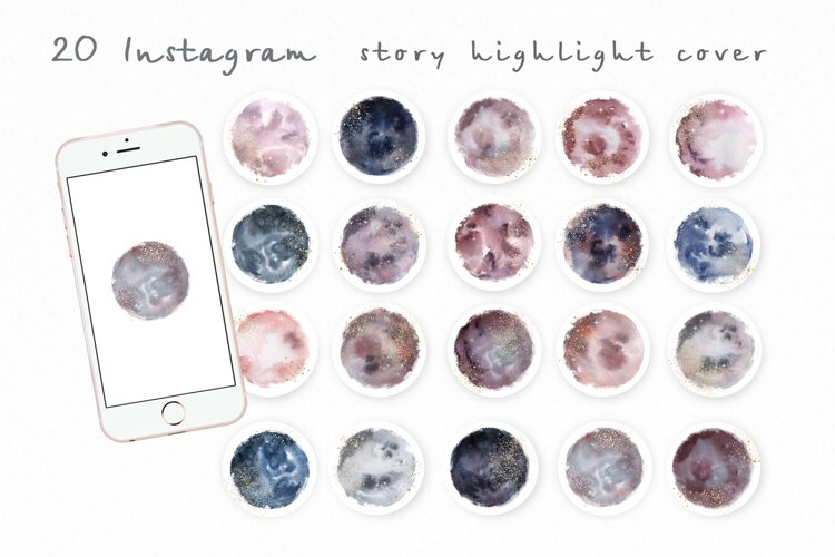 Instagram Stories Highlights Watercolor with Glitter