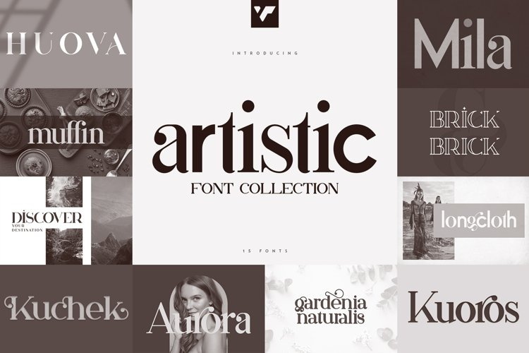Artistic Font Collection - 15 fonts example image 1