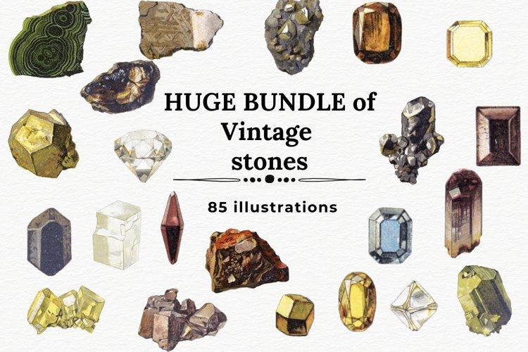 Bundle of Vintage Stones Clipart, Crystals Clipart