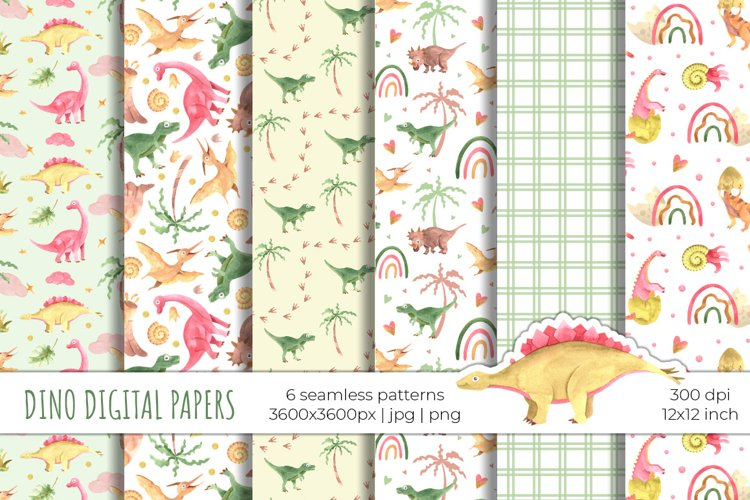 Watercolor dinosaurs digital paper / seamless patterns example image 1