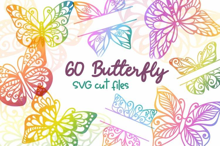 60 Butterfly SVG cut files - simple   split monogram