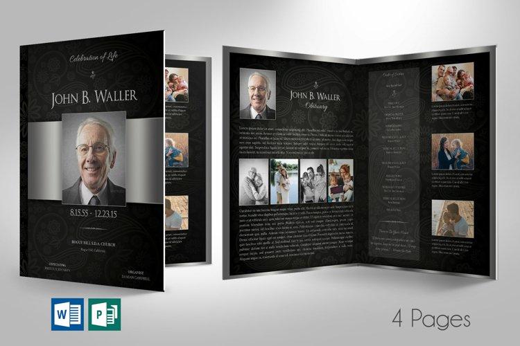 Black Silver Tabloid Funeral Program Word