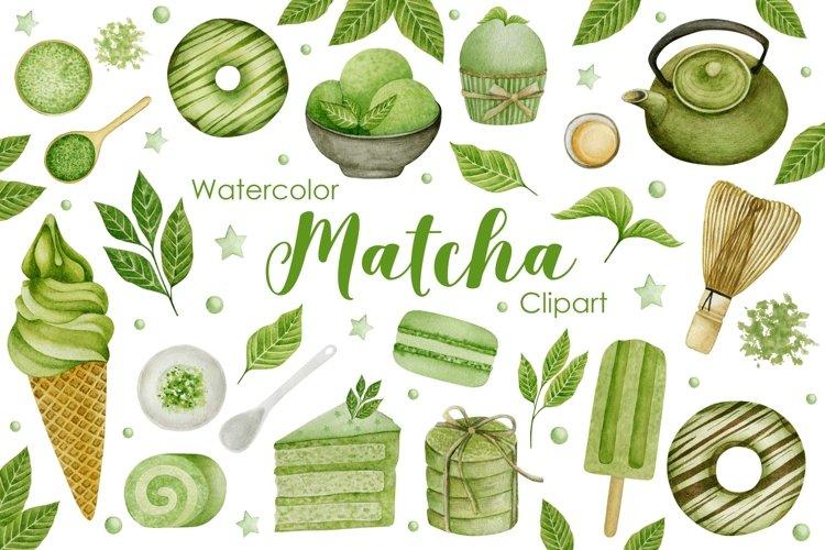 Watercolor Matcha Clipart.