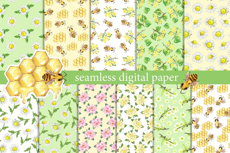 Summer digital paper. Watercolor summer flowers, insects