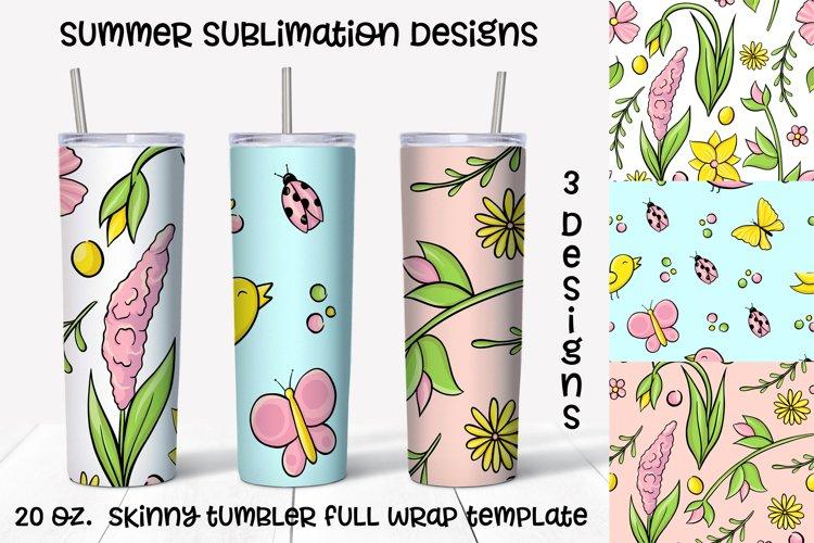 Summer sublimation design. Skinny tumbler wrap
