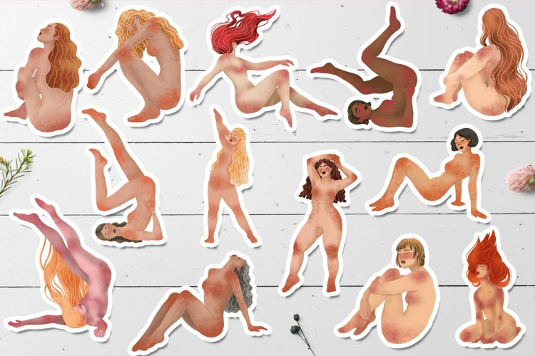 Trendy Girls Stickers, Body Positive Female Clipart