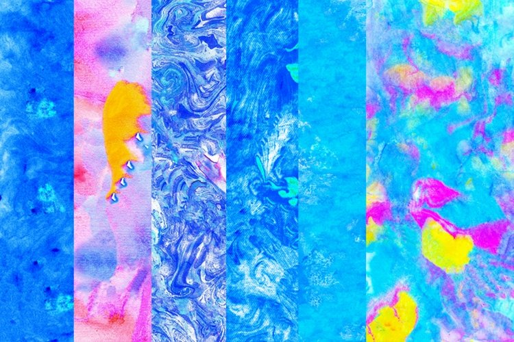 6 Watercolor abstract backgrounds JPG handmade