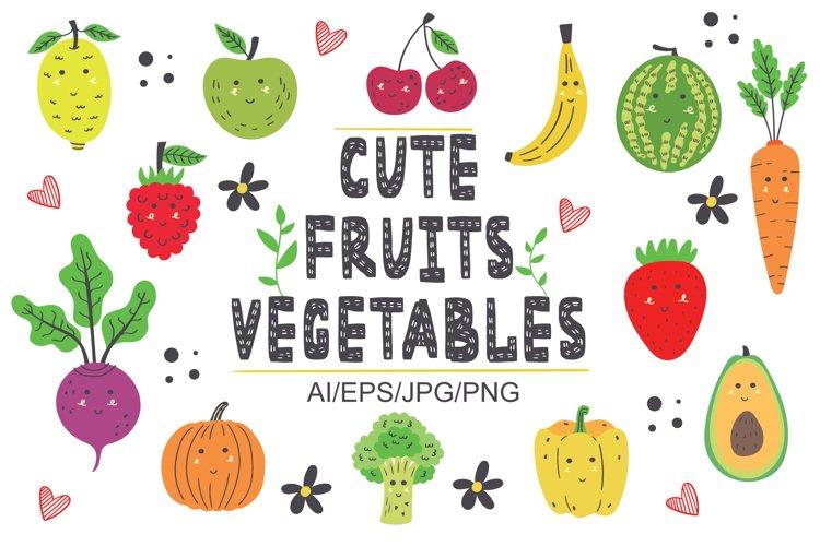 Set Clipart Pattern Alphabet Kawaii Vegetable Fruit