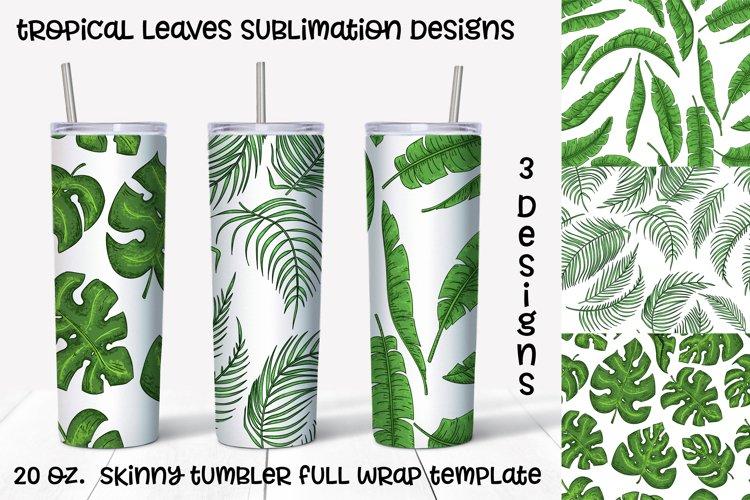 tropical leaves sublimation design. Skinny tumbler wrap