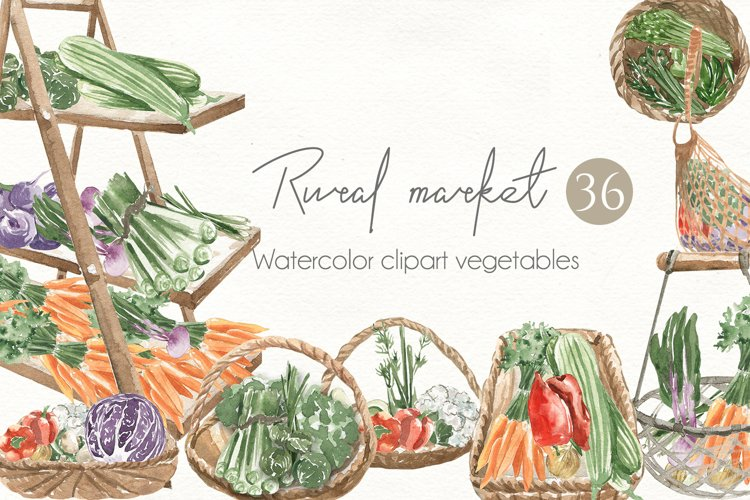 Rural market. Watercolor set