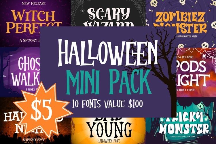 Halloween Mini Pack   10 Fonts Collections example image 1