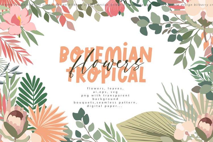 Bohemian tropical flowers