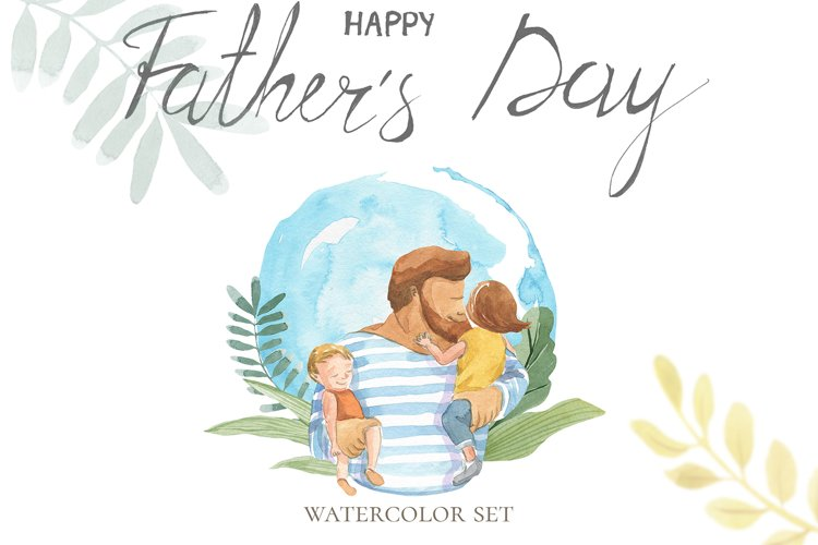 Happy Fathers Day. Watercolor set.