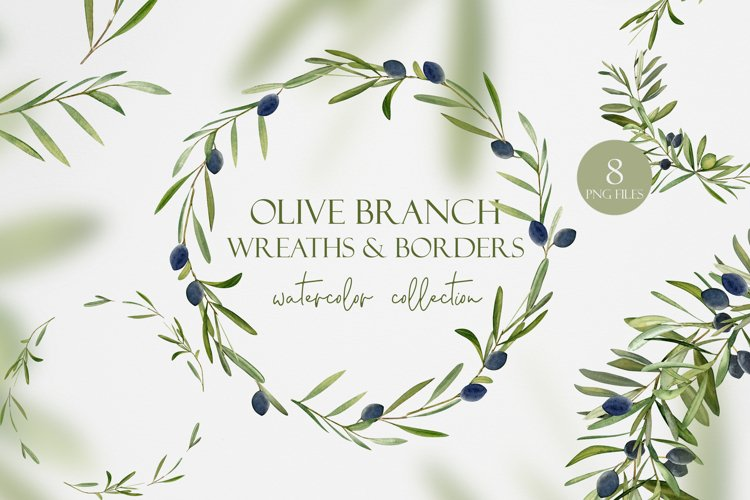 Watercolor Olive Wreath Clipart