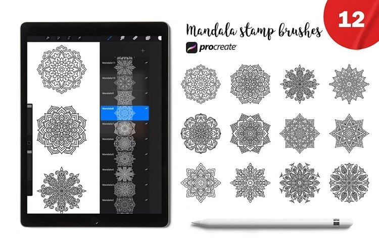 Procreate Mandala 12 stamp brushes. Boho brush for Procreate