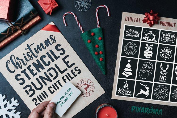 200 Christmas Stencils SVG Cut Files Bundle example image 1