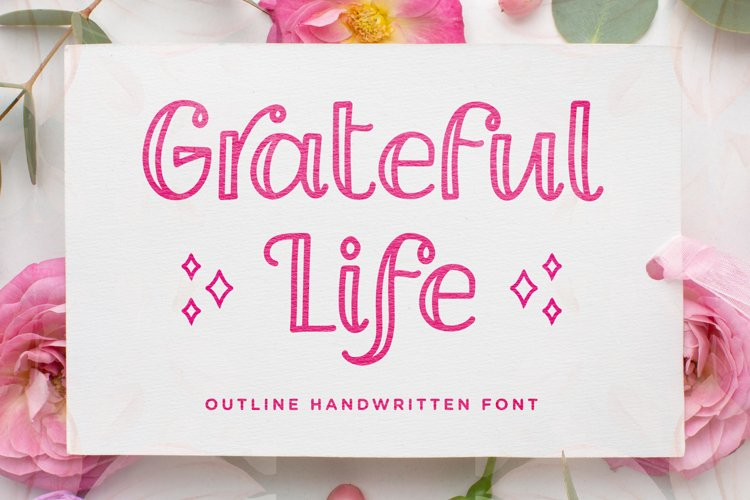 Grateful Life - Outline Handwritten Font example image 1