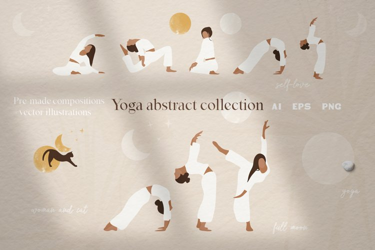 Yoga abstract graphic illustrations. Abstract women clipart