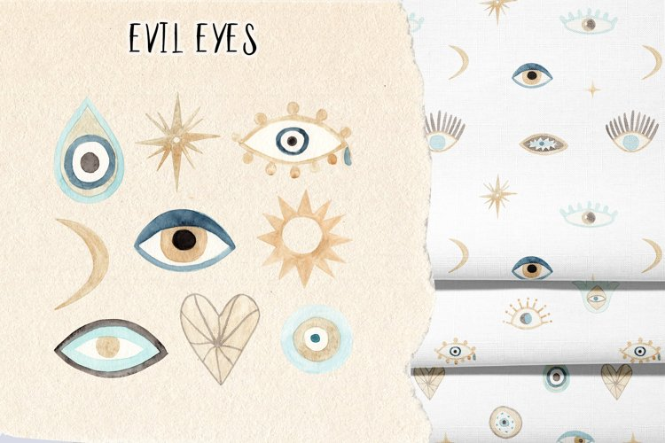 Watercolor evil eye - Nazar. Patterns and Cliparts