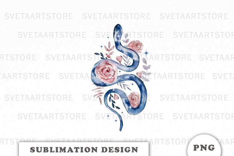 Celestial Floral snake sublimation png, Boho files