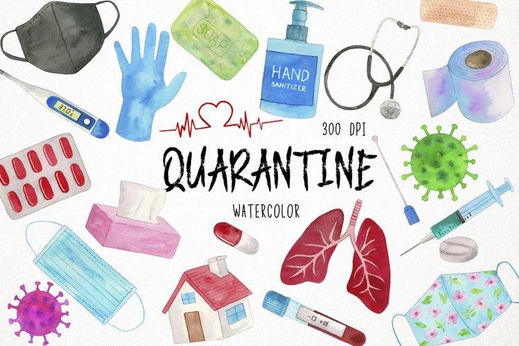 Watercolor Virus Clipart, Quarantine Clipart, Pandemic