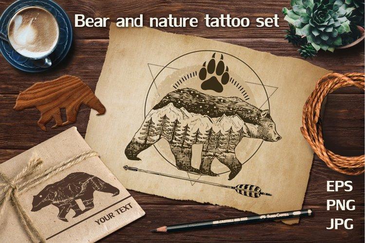 Bear & nature double exposure tattoo set