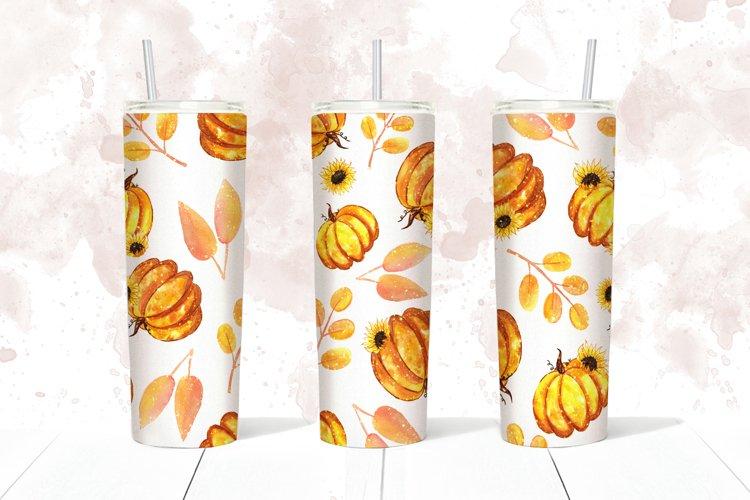 Autumn fall pumpkins skinny tumbler 20 oz, Wrap, Decal, JPEG