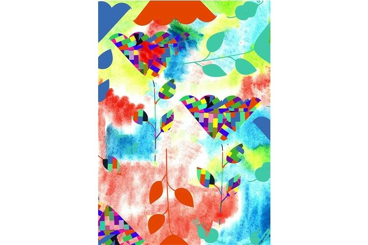 Floral pattern and watercolor - digital manipulated art