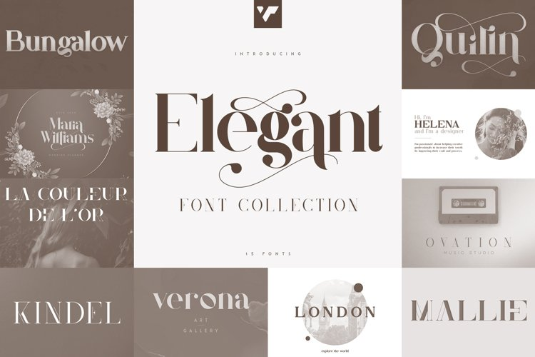 Elegant Font Collection - 15 fonts example image 1