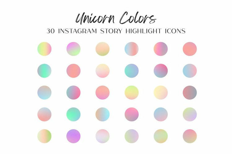 Unicorn Color Instagram Story Highlight Icons