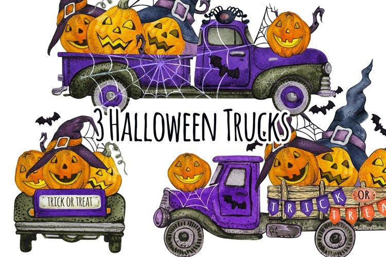 Watercolor Happy Halloween Truck Clipart png, Pumpkin Cars
